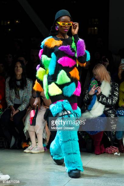 Maria Borges walks the runway during the Jeremy Scott fashion show during New York Fashion Week The Shows at Gallery I at Spring Studios on February...