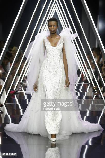 Maria Borges walks the runway during the Ralph Russo Haute Couture Fall Winter 2018/2019 show as part of Paris Fashion Week on July 2 2018 in Paris...