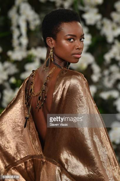 Maria Borges walks the runway for Ralph Lauren collection during New York Fashion Week on February 15 2017 in New York City