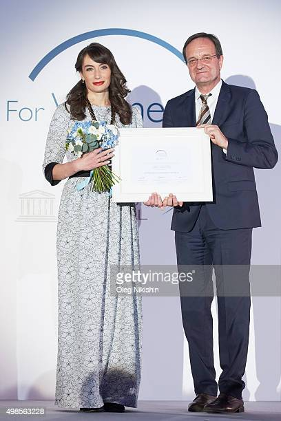 Maria Borisova and Georges Chichmanov General Secretary of L'Oreal Russia at the IX L'OrealUNESCO Award Ceremony 'For Women In Science' at The...