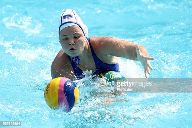 Maria Borisova of Russia in action during the Preliminary Round Group A Womens Waterpolo match between Russia and Australia on Day 4 of the Rio 2016...