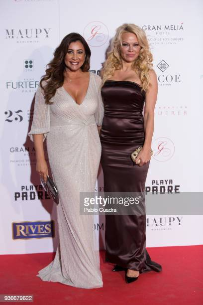 Maria Bravo and Pamela Anderson attend the III Global Gift Gala at Thyssen-Bornemisza museum on March 22, 2018 in Madrid, Spain.