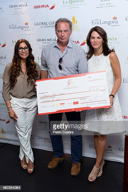 Maria Bravo Bertin Osborne and Fabiola Martinez attend a press conference as the Global Gift Foundation delivers donations at 'De Maria' restaurant...