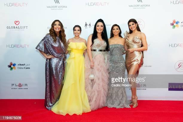 Maria Bravo Carmen Soliman Mona Kattan Eva Longoria Baston Jacqueline Fernandez attend the The Global Gift Gala Dubai presented by Huda Beauty at The...