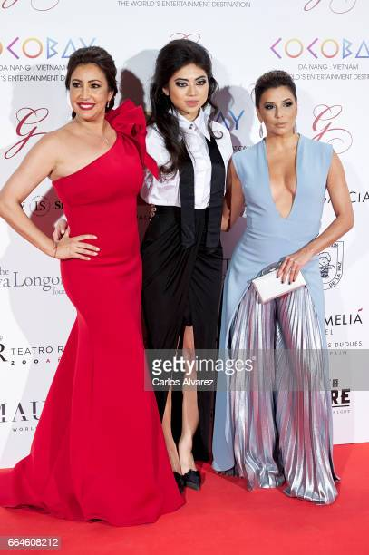Maria Bravo, Coco Tran and Eva Longoria attend the Global Gift Gala 2017 at the Royal Teather on April 4, 2017 in Madrid, Spain.