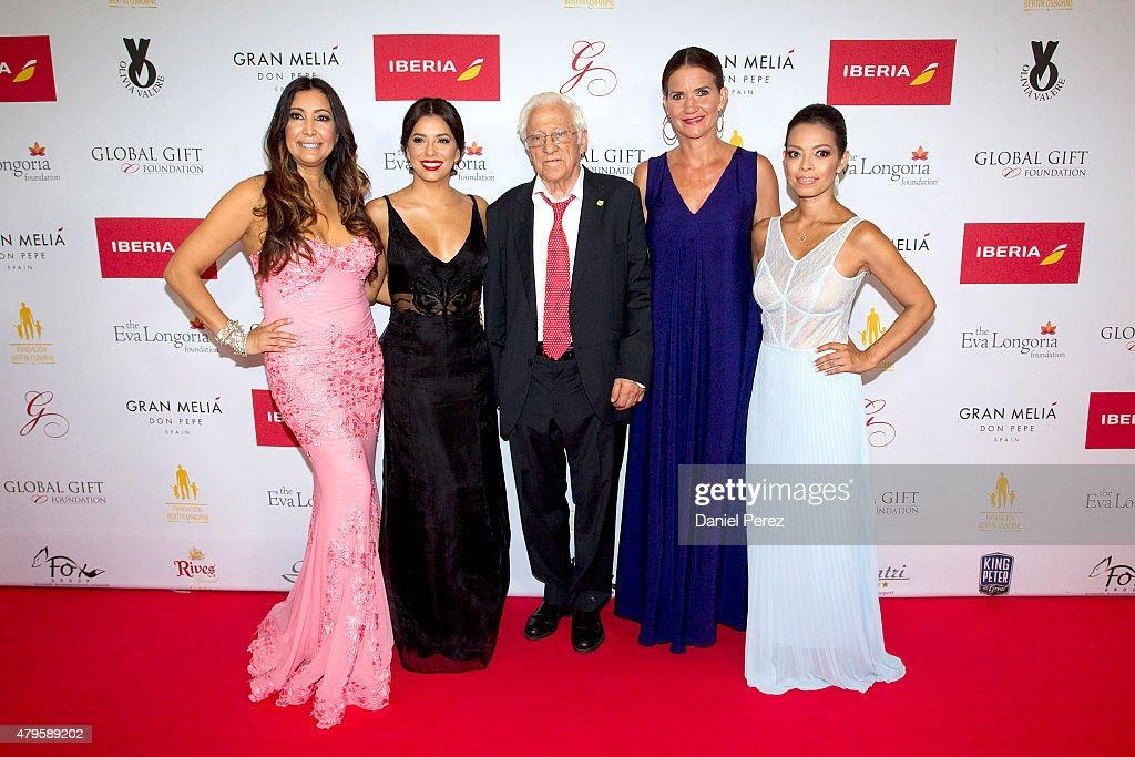 Maria Bravo (L), Eva Longoria (2L), Padre Angel (C), Samantha Vallejo-Nagera (2R) and Alina Peralta (R) attend the Global Gift Gala 2015 red carpet at Gran Melia Don pepe Resort on July 5, 2015 in Marbella, Spain.