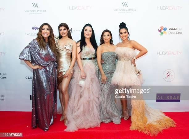 "Maria Bravo, Jacqueline Fernandez, Mona Kattan, Eva Longoria Baston & Huda Kattan attend the ""The Global Gift Gala Dubai"" presented by Huda Beauty at..."