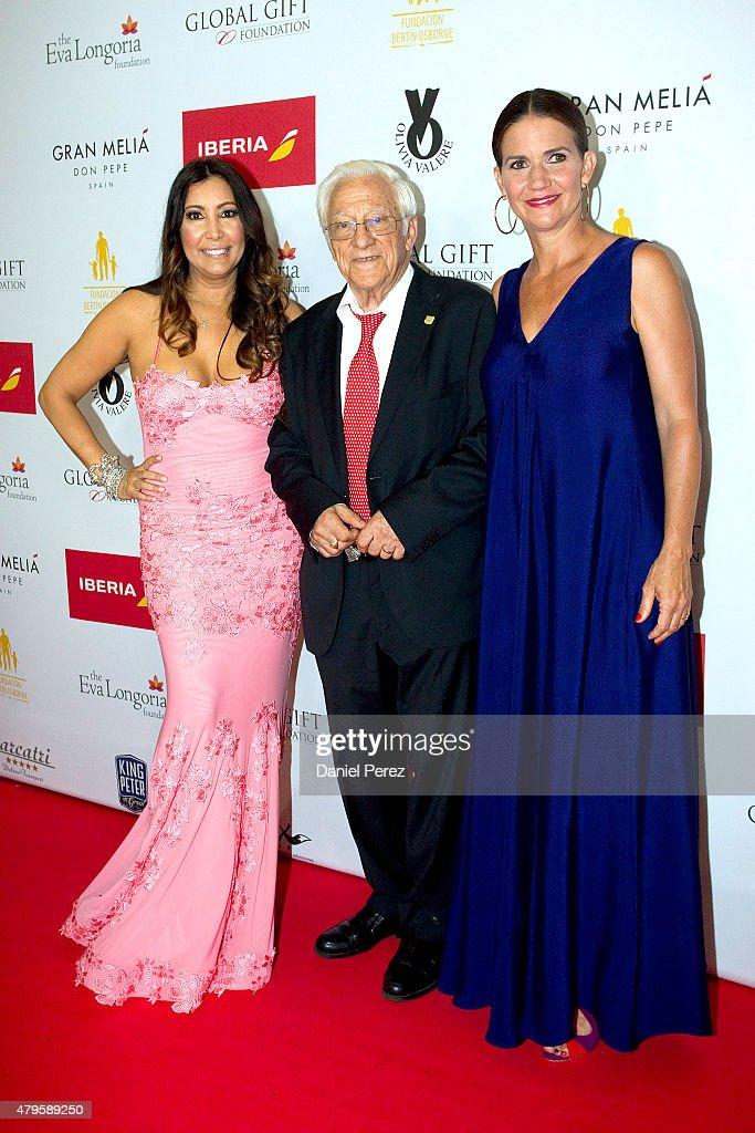 Maria Bravo (L), Padre Angel (C) and Samantha Vallejo-Nagera (R) attend the Global Gift Gala 2015 red carpet at Gran Melia Don pepe Resort on July 5, 2015 in Marbella, Spain.