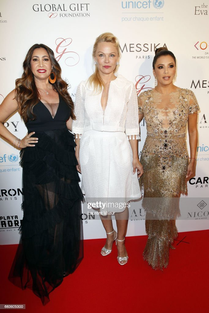 Maria Bravo, Pamela Anderson and Eva Longoria attend Global Gift Gala 2017 at Hotel George V on May 16, 2017 in Paris, France.
