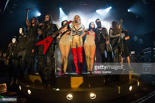 Maria Brink of In This Moment acknowledges the audience with her band and crew at Le Trabendo on February 25 2015 in Paris France