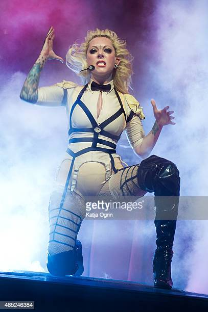 Maria Brink of In This Moment performs live on stage at Wulfrun Hall on March 4 2015 in Wolverhampton United Kingdom