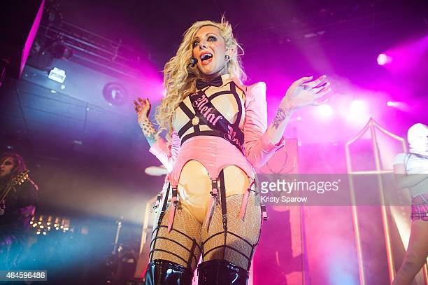 Maria Brink of 'In This Moment' performs onstage at Le Trabendo on February 25 2015 in Paris France