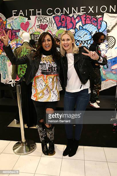 Maria Buccellati President of Faith Connexion and actress Kelly Rutherford attend the Faith Connexion Street Art Tour hosted by Saks Fifth Avenue and...