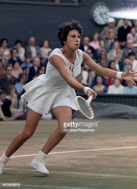 Maria Bueno of Brazil in action on Centre Court at Wimbledon circa June 1976
