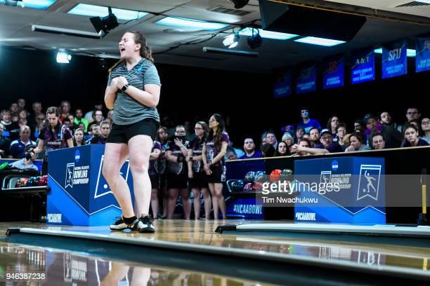 Maria Bulanova of Vanderbilt University reacts to a throw during the Division I Women's Bowling Championship held at Tropicana Lanes on April 14 2018...