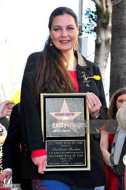 Maria Burton accepts the star posthumously at a ceremony honoring her father Richard Burton with a Star on the Hollywood Walk of Fame next to...