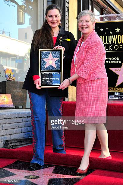 Maria Burton and British Consul-General Dame Barbara Hay attend a ceremony honoring Richard Burton with a Star on the Hollywood Walk of Fame next to...