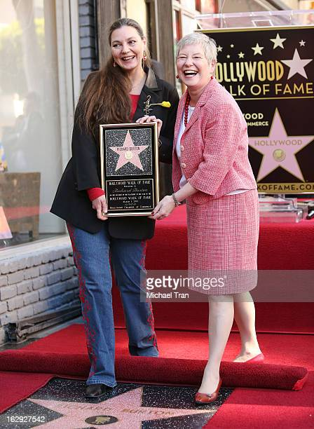 Maria Burton and British Consul-General Dame Barbara Hay attend the ceremony honoring Richard Burton with a posthumous Star on The Hollywood Walk of...