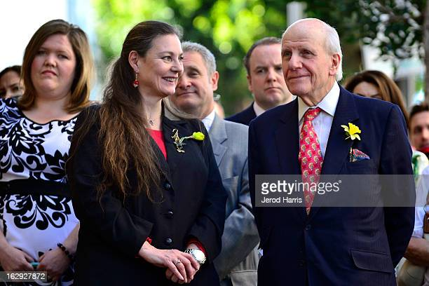 Maria Burton and Lord David RoweBeddoe attend the ceremony honoring her father Richard Burton with a Star on the Hollywood Walk of Fame next to...