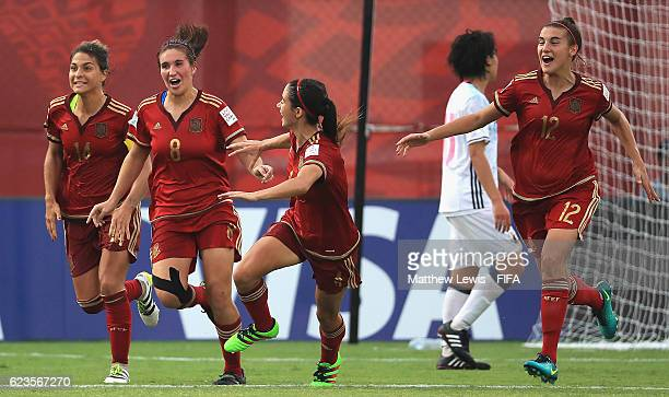 Maria Caldentey of Spain celebrates her goal during the FIFA U20 Women's World Cup Papua New Guinea 2016 Group B match between Spain and Japan at...