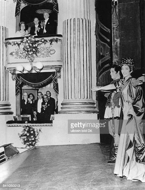Maria Callas *Opera singer USA / Greecewith Ettore Bastianini after the performance of Donizetti's opera 'Poliuto' in the Scala Milan in the lower...