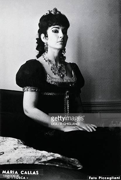 Maria Callas , American-born Greek soprano, as Tosca, in the homonymous opera by Giacomo Puccini, in a production at La Scala Theatre in Milan....