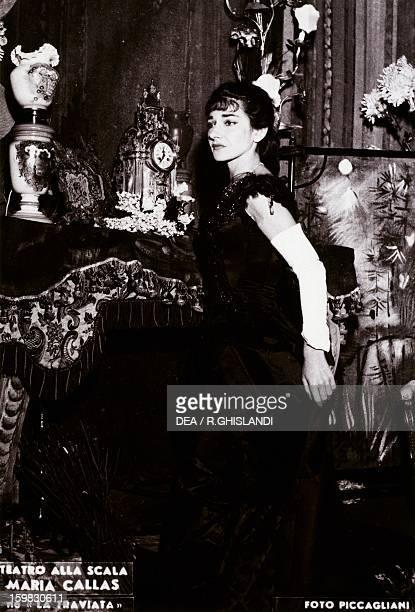 Maria Callas Americanborn Greek soprano as Violetta in La Traviata by Giuseppe Verdi in a 1955 production at the La Scala Theatre in Milan Milan...