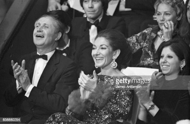 Maria Callas Greek Opera singer in the centre attends the Union of artists Gala Paris 24th April 1971