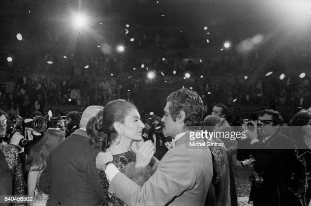 Maria Callas Greek Opera singer with the Egyptian actor Omar Sharif at the Union of artists Gala Paris 24th April 1971