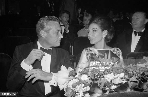 Maria Callas Greek Opera singer with Vogue director Sandy Bertrand at the reception for the 75th birthday of the famous french restaurant Maxim's in...