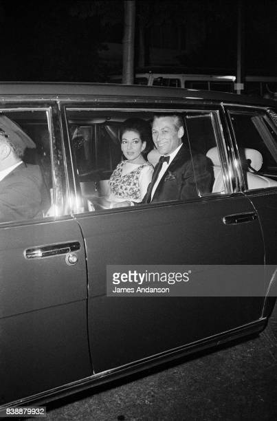 Maria Callas Greek Opera singer with Vogue director Sandy Bertrand arrive at the reception for the 75th birthday of the famous french restaurant...