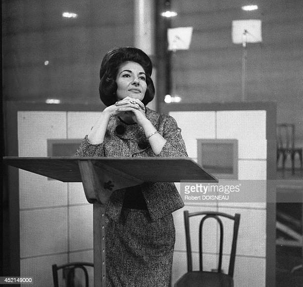 Maria Callas in rehearsal at the Salle Wagram in May 1963 in Paris France