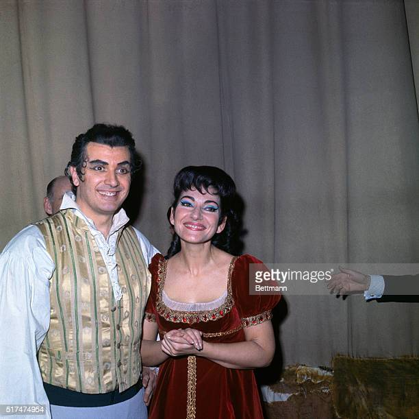 "Maria Callas, Opera Star- with Franco Corelli after the opening night performance of ""Tosca"" at the Metropolitan Opera."