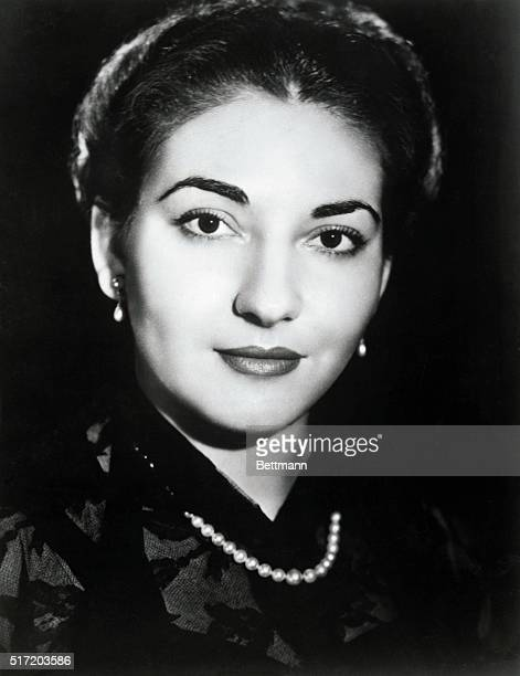 Maria Callas renowned soprano shown in a closeup Callas is wearing a dark blouse and a single strand of pearls Undated photograph