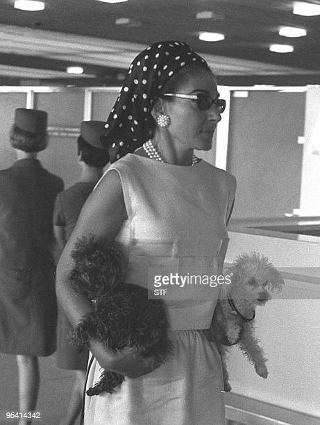 Maria Callas shown in file photo dated 09 January 1966 holding her two favorite dogs at the Orly airport in Paris.