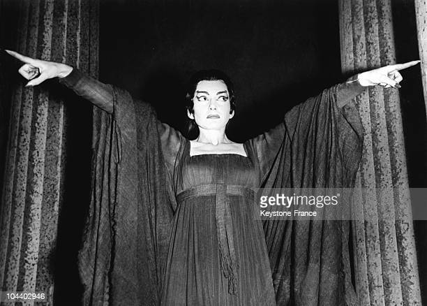 Maria CALLAS stretching her arms during a rehearsal for the role of MEDEA at Convent Garden