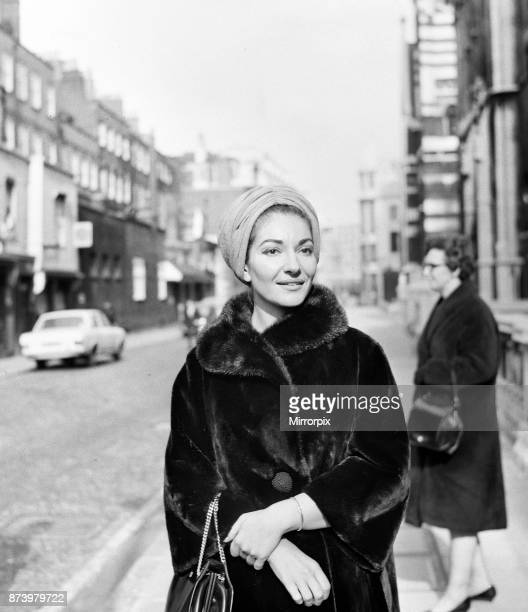 Maria Callas the opera singer and the Greek shipping tycoon Aristotle Onassis attend the Law Courts in London to sue 77 year old Panaghis Vergottis a...
