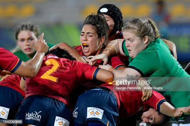 Maria Calvo of Spain reacts during the Rugby World Cup 2021 Europe Qualifying match between Spain and Ireland at Stadio Sergio Lanfranchi on...