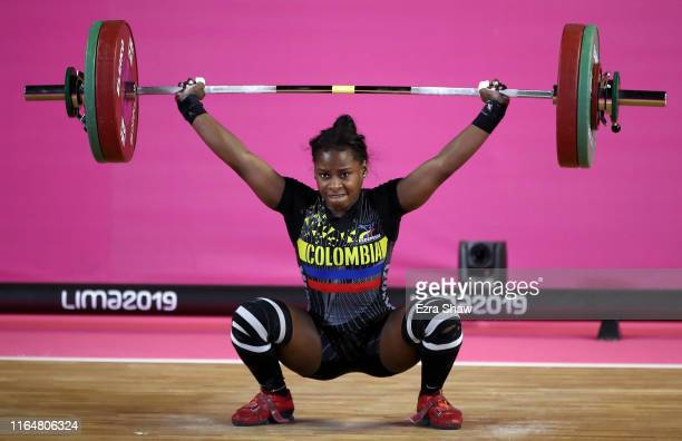 Maria Camila Lobon of Columbia competes in the women's weightlifting 59kg competition on Day 2 of the Lima 2019 Pan American Games at Mariscal...