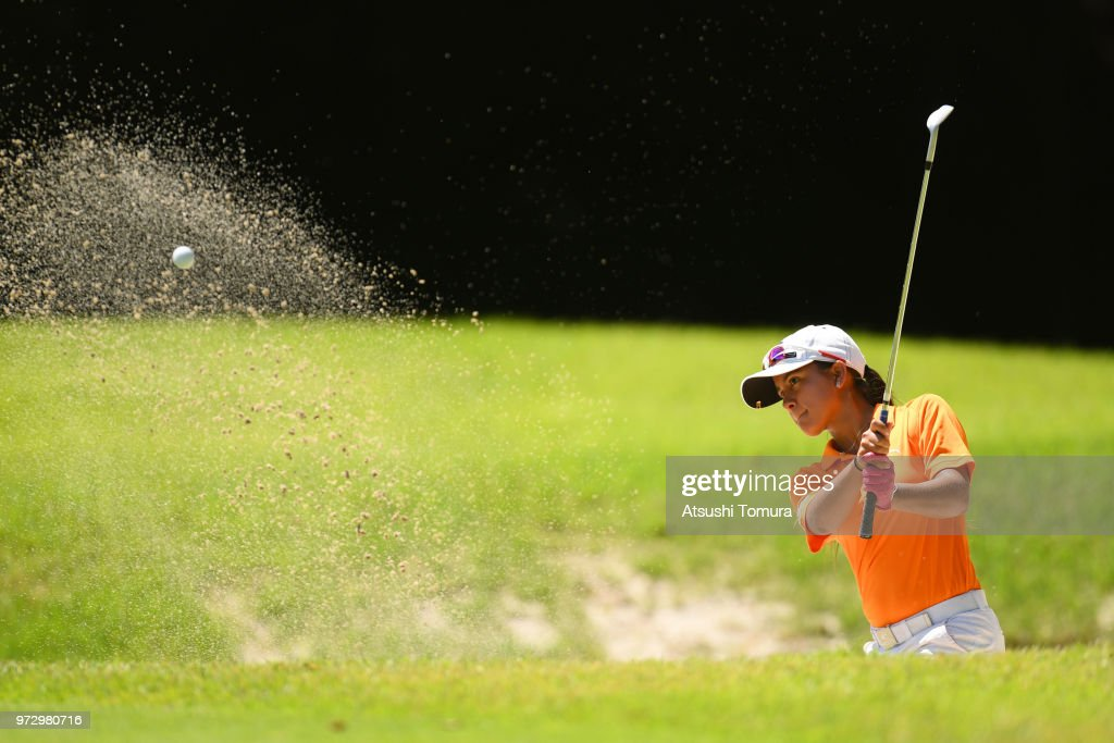 Maria Camila Moreno of Colombia hits from a bunker on the 16th hole during the second round of the Toyota Junior Golf World Cup at Chukyo Golf Club on June 13, 2018 in Toyota, Aichi, Japan.