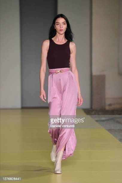 Maria Carla Boscono walks the runway at the Salvatore Ferragamo fashion show during the Milan Women's Fashion Week on September 26, 2020 in Milan,...