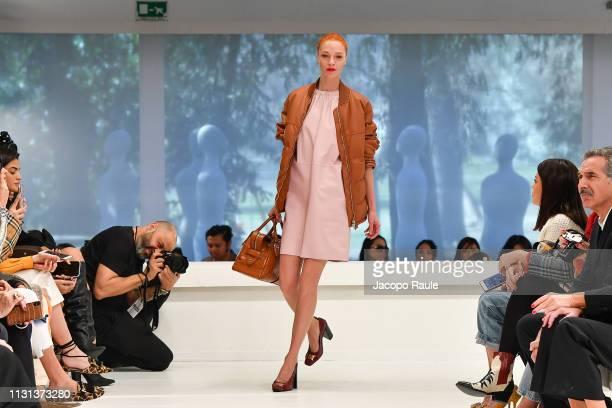 Maria Carla Boscono walks the runway at the Tod's show at Milan Fashion Week Autumn/Winter 2019/20 on February 22 2019 in Milan Italy