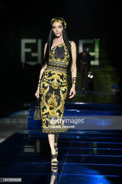 Maria Carla Boscono walks the runway at the Versace special event during the Milan Fashion Week - Spring / Summer 2022 on September 26, 2021 in...