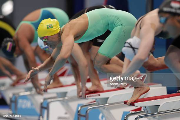 Maria Carolina Gomes Santiago of Team Brazil competes during the women's 100m Breaststroke - SB12 final on day 8 of the Tokyo 2020 Paralympic Games...