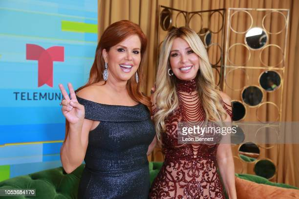 Maria Celeste Arraras and Myrka Dellanos poses at the 2018 Latin American Music Awards Press Room at Dolby Theatre on October 25 2018 in Hollywood...