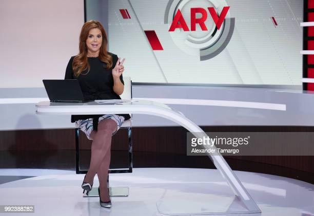 Maria Celeste Arraras is seen on the set of 'Al Rojo Vivo' at Telemundo Center on July 5 2018 in Miami Florida