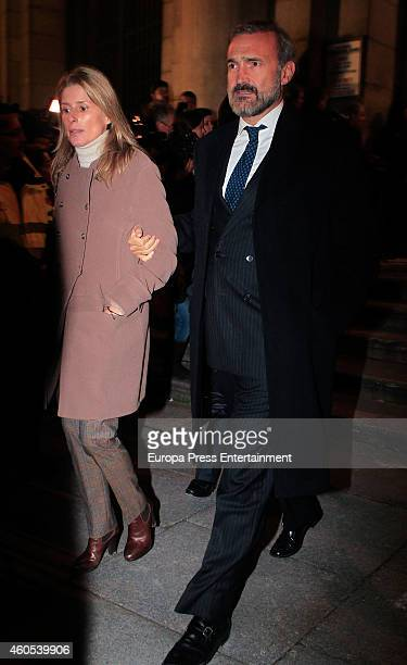 Maria Chavarri and Javier FitzJames Stuart attend memorial service for Duchess of Alba on December 15 2014 in Madrid Spain