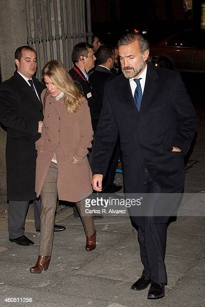 Maria Chavarri and Javier Soto attend a Funeral Service for Duchess of Alba at the Real Basilica de San Francisco el Grande on December 15 2014 in...