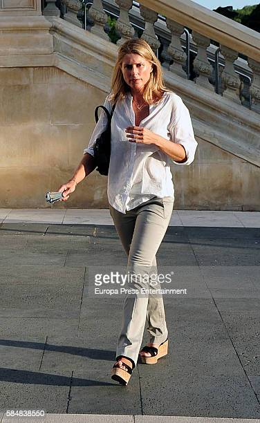 Maria Chavarri attends Jose Maria Trevino's funeral on July 11 2016 in Madrid Spain