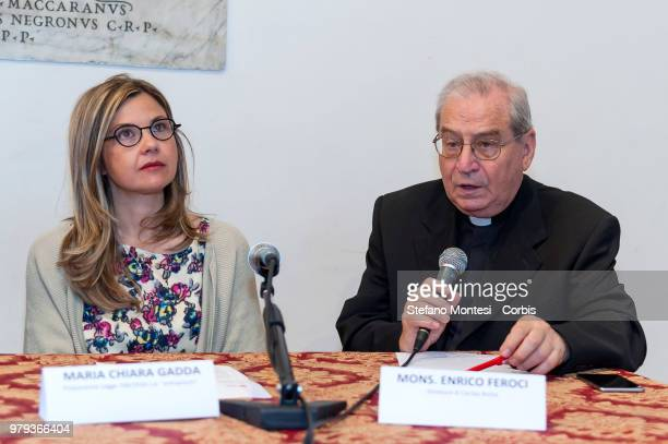 Maria Chiara Gadda deputy of the Democratic Party promoting food waste law and Monsignor Enrico Feroci director of Caritas in Rome during the press...